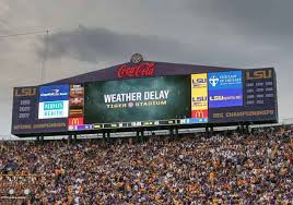 The huge crowd at Tiger Stadium were left disappointed after a lightning storm cancelled the game.